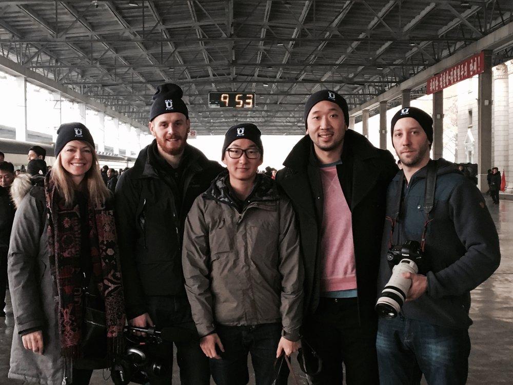 The crew preparing to board a train to Dandong, China at Pyongyang Railway Station.