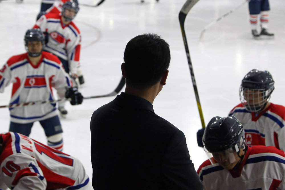 Head Coach Yun Pong Chol during a practice at Paradice Ice Rink in Auckland, New Zealand.