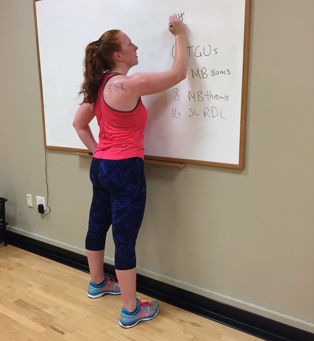 Recording everything on white boards is a fun way to mix up your workouts too!