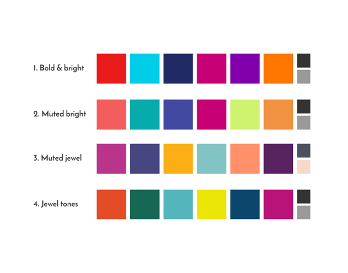 Looking at a few different flavours of our bright, cheerful palette.