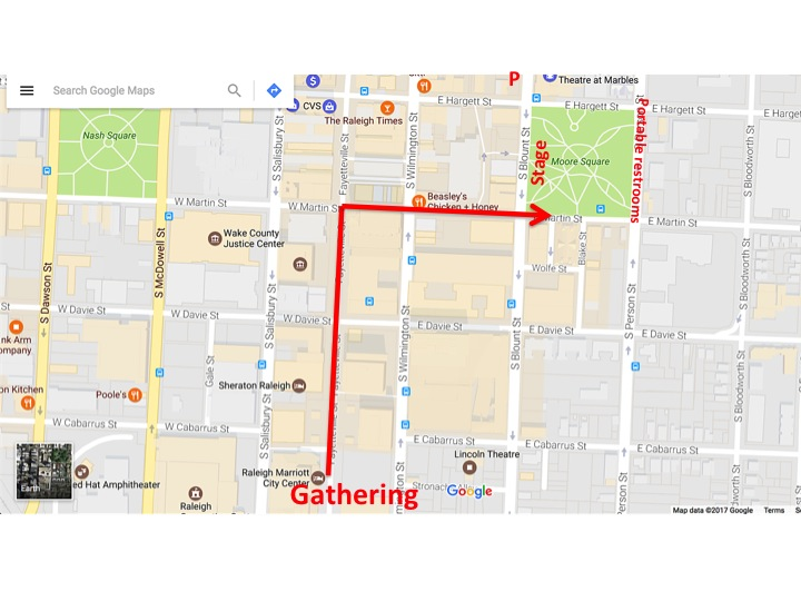 Map of gathering/step-off location and march route