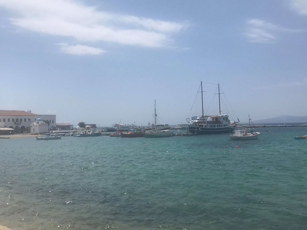 BYE MYKONOS--waiting for the ferry to Santorini!