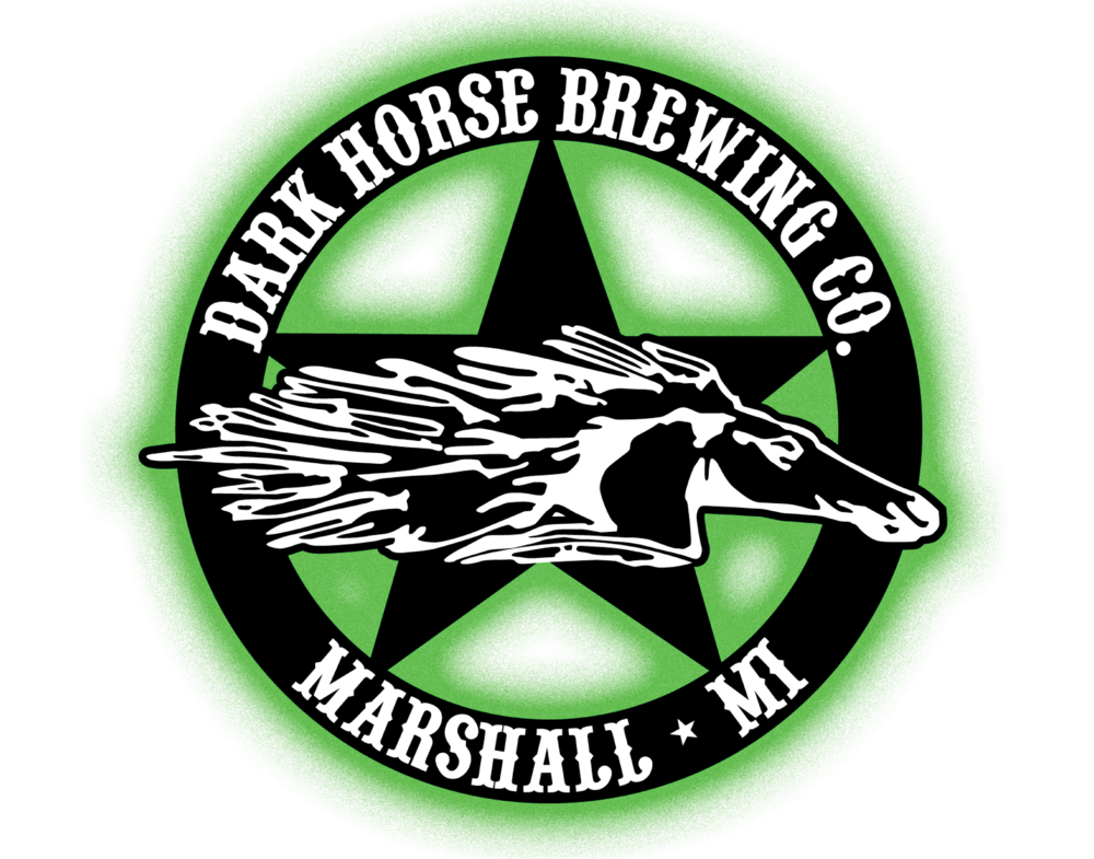 Dark Horse Brewing Company logo. Links to Dark Horse Brewery website.