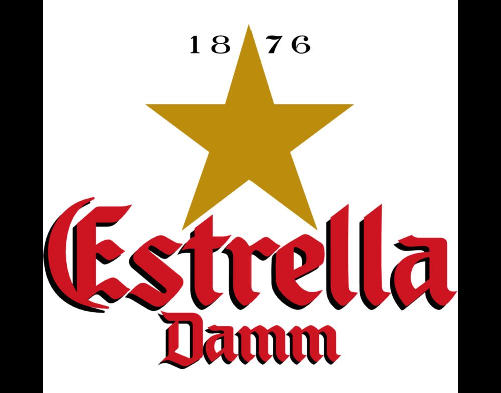 Estrella Damm logo. Links to Estrella Damm website.