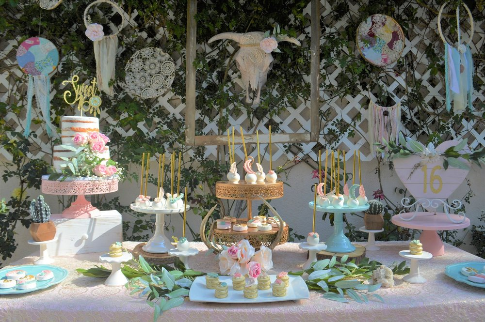 Bohemian Sweet 16 Birthday Dessert Table SugarPartiesLA
