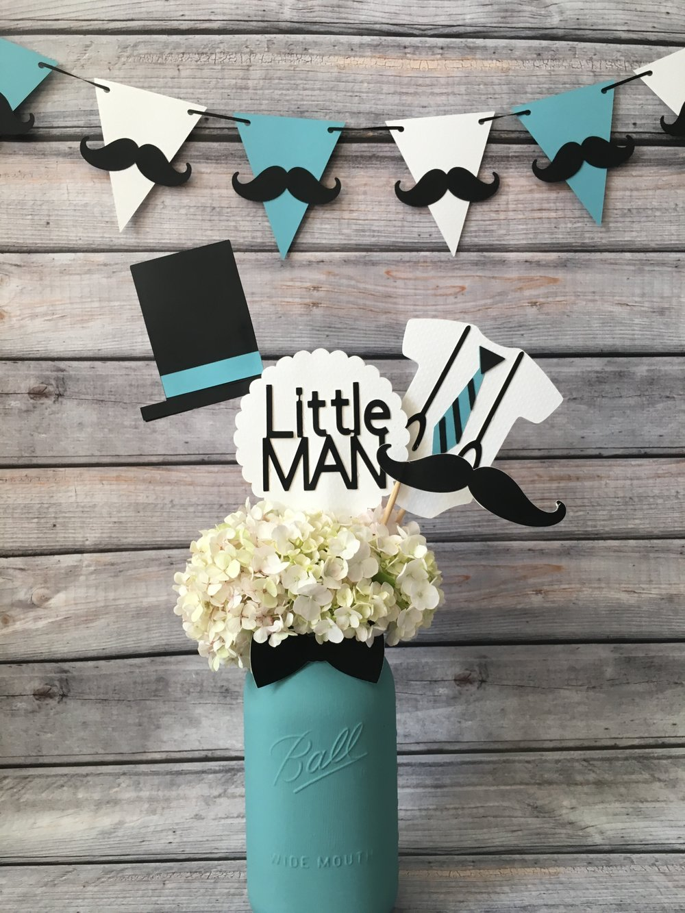 Little Man baby shower centerpieces
