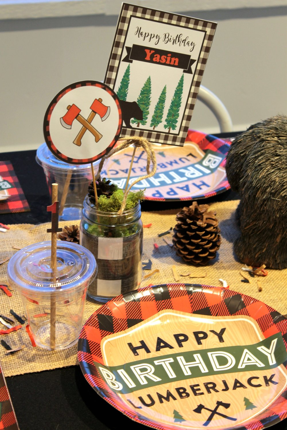 LumberJack Centerpieces-Kids Party Table-Woodland-LumberJack Party-www.SugarPartiesLA.com.jpg