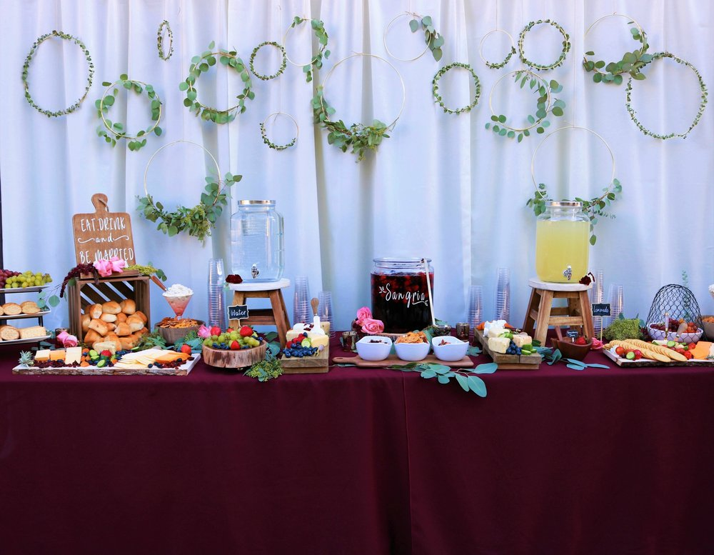 Wedding Cocktail Hour-Wedding appetizer table-wedding appetizers-burgundy wedding-wedding ideas-www.SugarPartiesLA.com.jpg