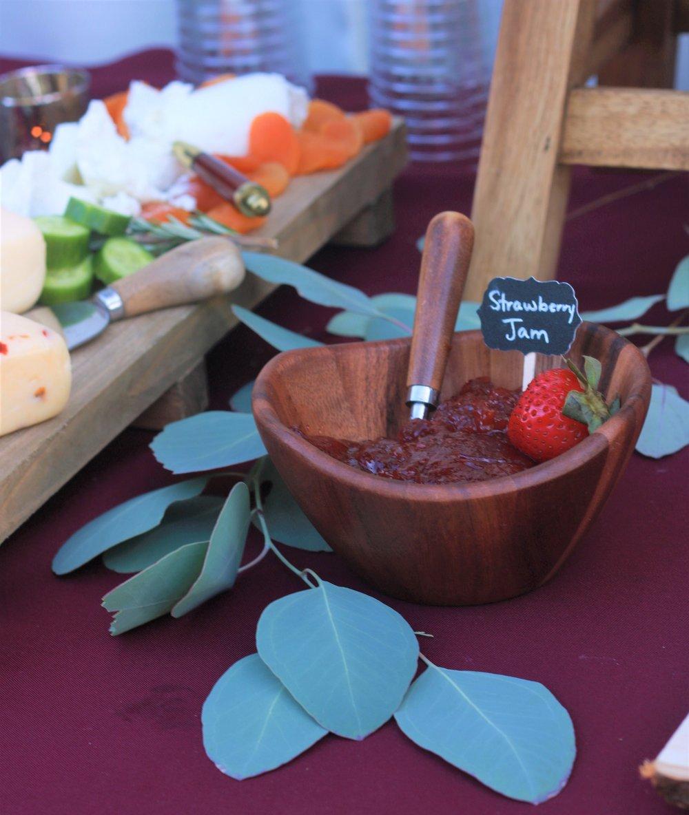 Fall Wedding Food-wedding-burgunday wedding-wedding appetizer table-wedding food table-wedding food ideas-strawberry jam-eucalyptus-rustic wedding table-www.SugarPartiesLA.com