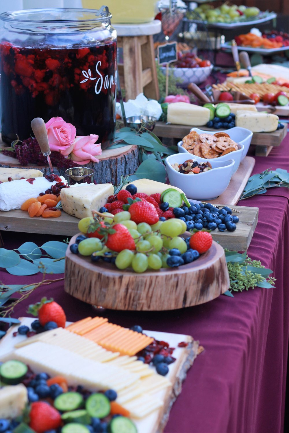 Fall Wedding Food-wedding appetizer table-wedding foods-wedding-burgundy wedding-rustic wedding-sangria-wedding cocktail hour-www.SugarPartiesLA.com