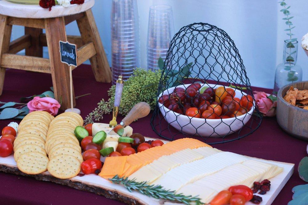Wedding Food-wedding-cheese and crackers-wedding appetizers-wedding cheese and crackers-rustic wedding-www.SugarPartiesLA.com