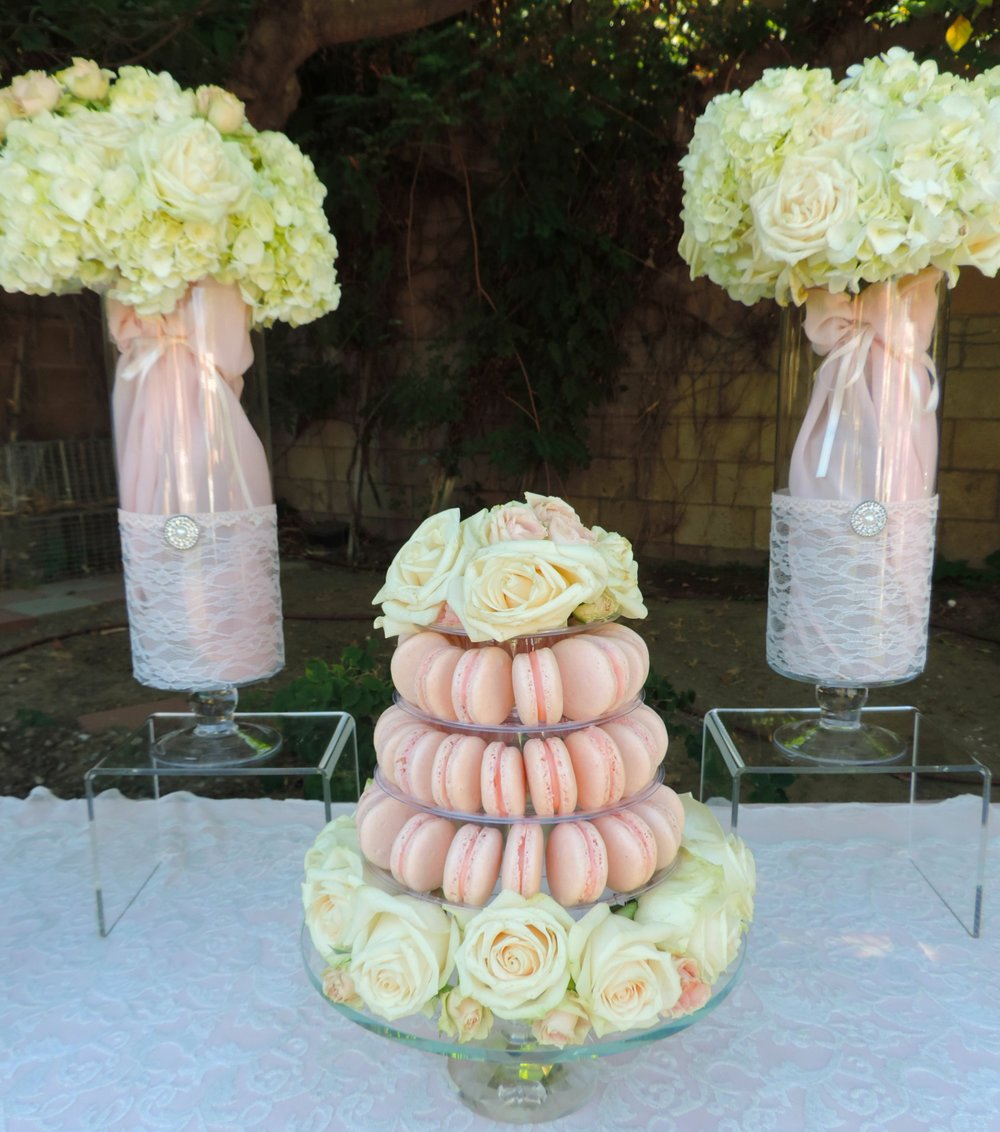 Macron Tower-Macroons-Wedding dessert ideas-wedding -summer wedding-spring wedding-wedding ideas-backyard wedding-garden wedding-www.SugarPartiesLA.com.jpg