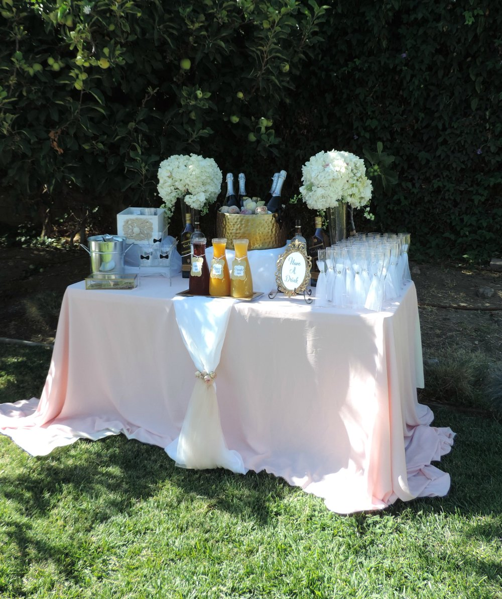 Garden Wedding-Champagne Table-Wedding drink table-Blush Wedding-Mr and Mrs Toast-Champagne Toast-Champagne flutes-backyard wedding-garden wedding-www.SugarPartiesLA.com.jpg