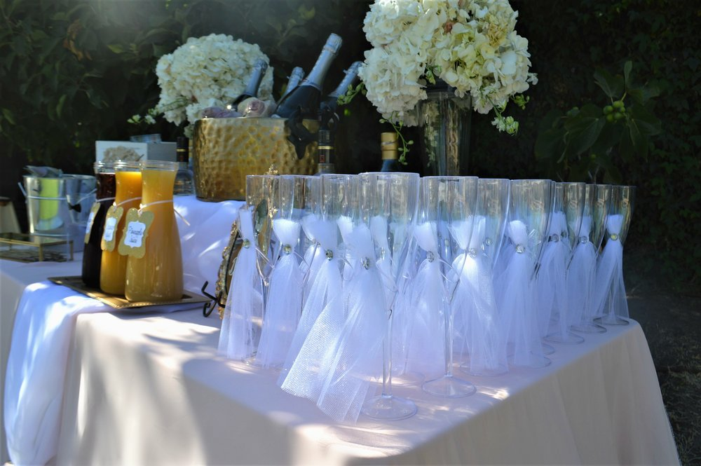 Wedding Champagne Flutes-wedding flutes-wedding drink table-wedding ideas-garden wedding-summer wedding-spring wedding-wedding drink station-www.SugarPartiesLA.com.jpg