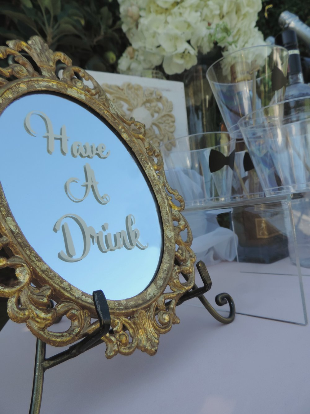Wedding Mirror art-Wedding decor-Wedding ideas-Wedding signs-Wedding Drink Station-Garden Wedding-Bckyard wedding-summer wedding-www.SugarPartiesLA.com.jpg