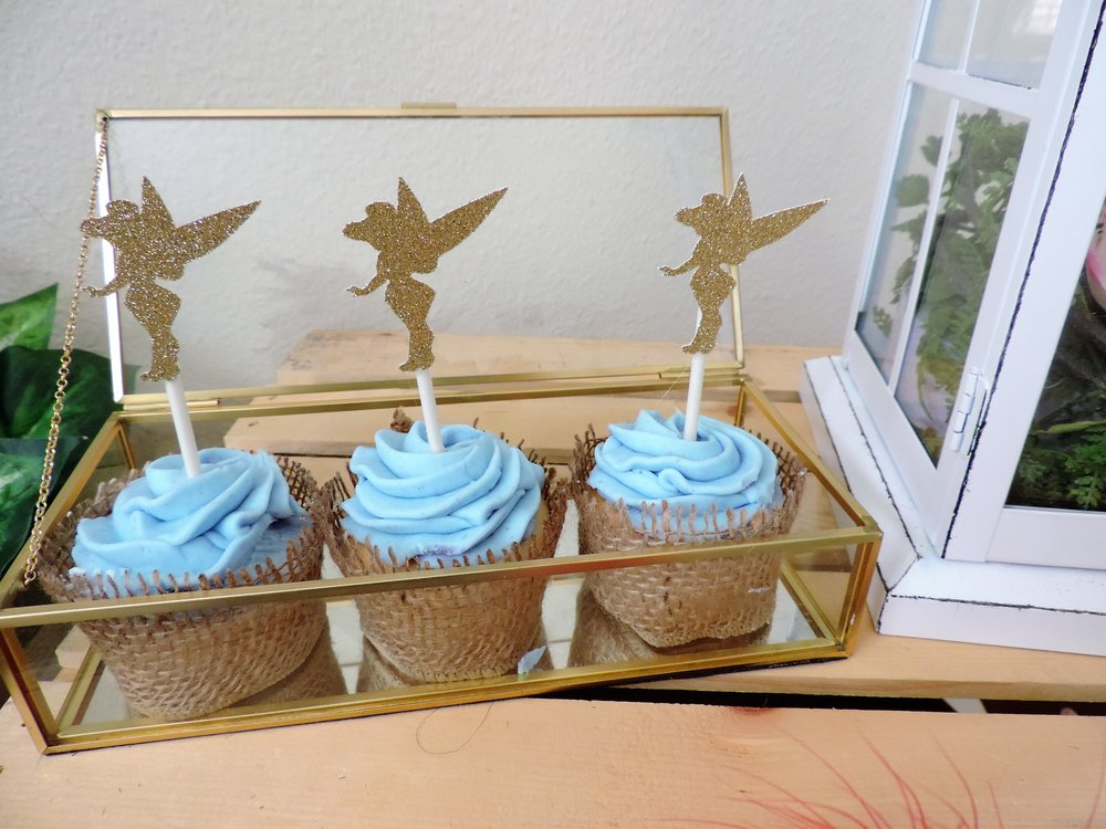 Tinkerbell-tinkerbell cupcakes-peter pan party-peter pan party ideas-never grow up-tinkerbell and peter pan-www.SugarPartiesLA.com