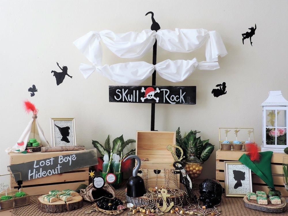Skull Rock-Peter Pan party-Peter pan party ideas-peter pan dessert table-Peter pan party ideas -www.SugarPartiesla.com