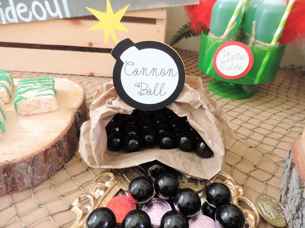 Canon Ball-Peter Pan party ideas-peter pan party decor-peter pan  party-peter pan candy table-peter pan party ideas-www.SugarPartiesla.com