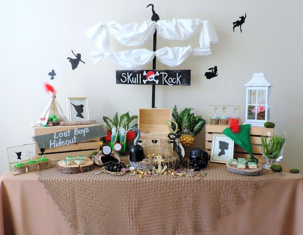 Peter Pan Dessert Table-Peter Pan Party ideas-Peter Pan party decor-peter pan party ideas-never grow up-skull rock -kids party ideas-www.SugarPartiesla.com.jpg