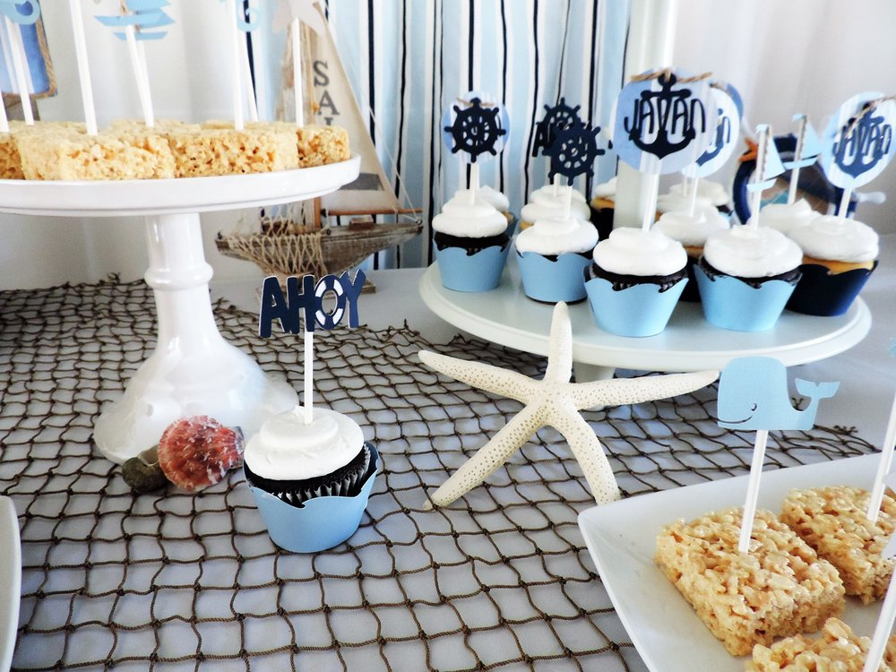 Ahoy its a boy baby shower-boy baby shower-summer baby shower-boy baby shower-nautical boy-nautical baby shower desserts-www.SugarPartiesLA.COM