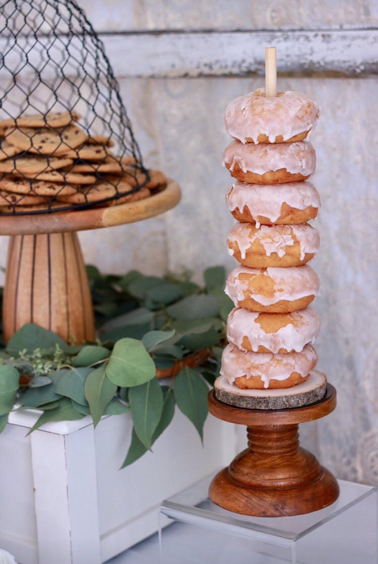 Donut tower-donut dessert table-home sweet home-rustic party-donut stand-housewarming party ideas-www.SugarPartiesLA.com