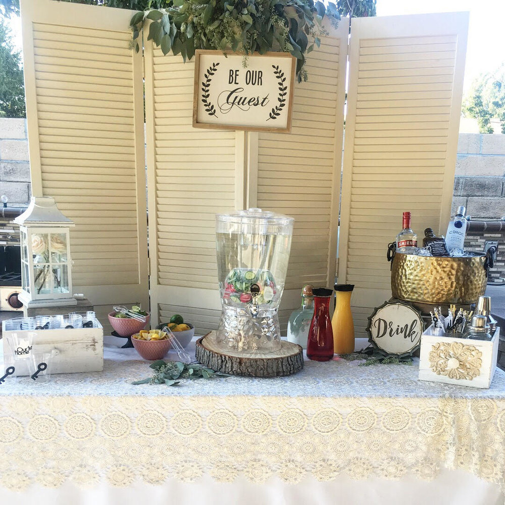 Be our guest-housewar ming party ideas-housewarming drinks-drink station-boho drink station-home sweet home party ideas-www.SugarPartiesLA.com