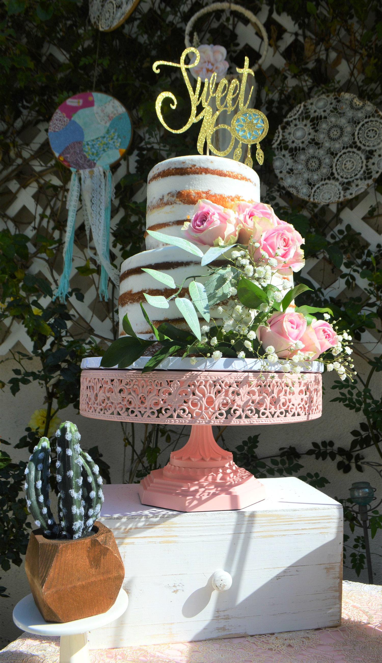 Sweet 16 Sixteen Cake Naked Boho Birthday
