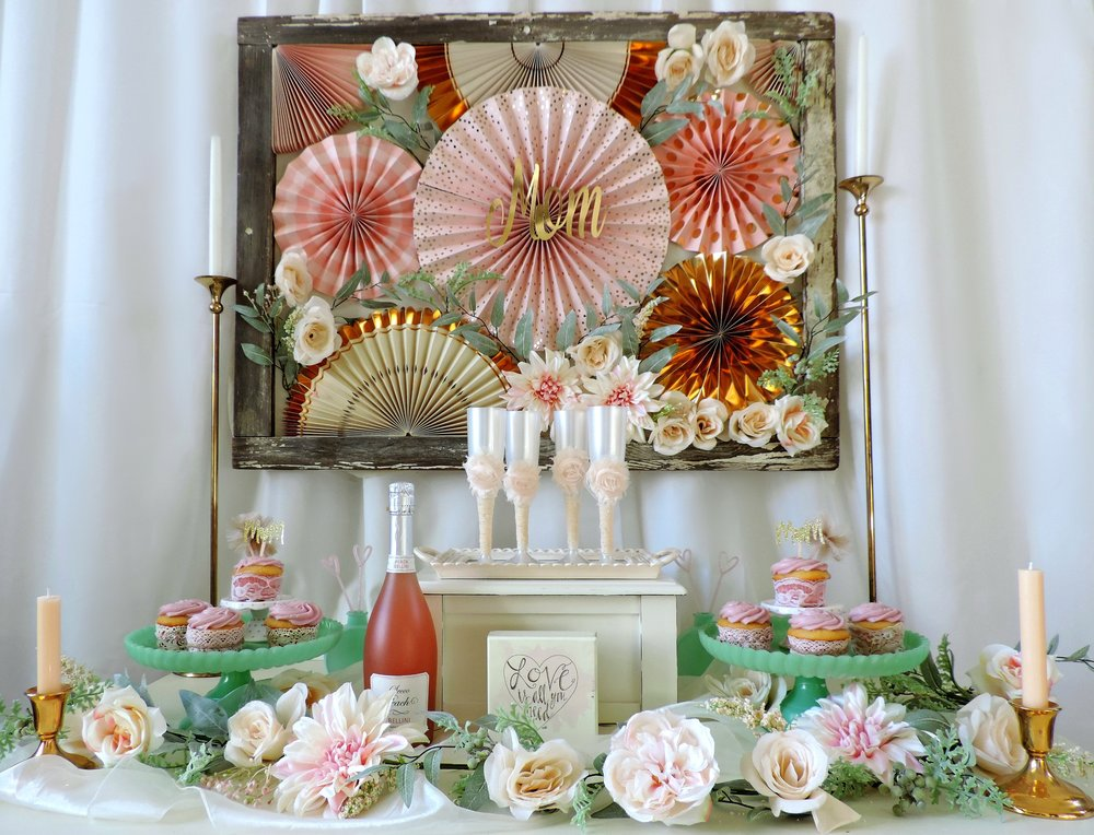 Paper Fan backdrop-Mother's Day Ideas-Mother's Day Champagne-Champagne flutes-Mom cupcake toppers-www.SugarPartiesLA.com.jpg