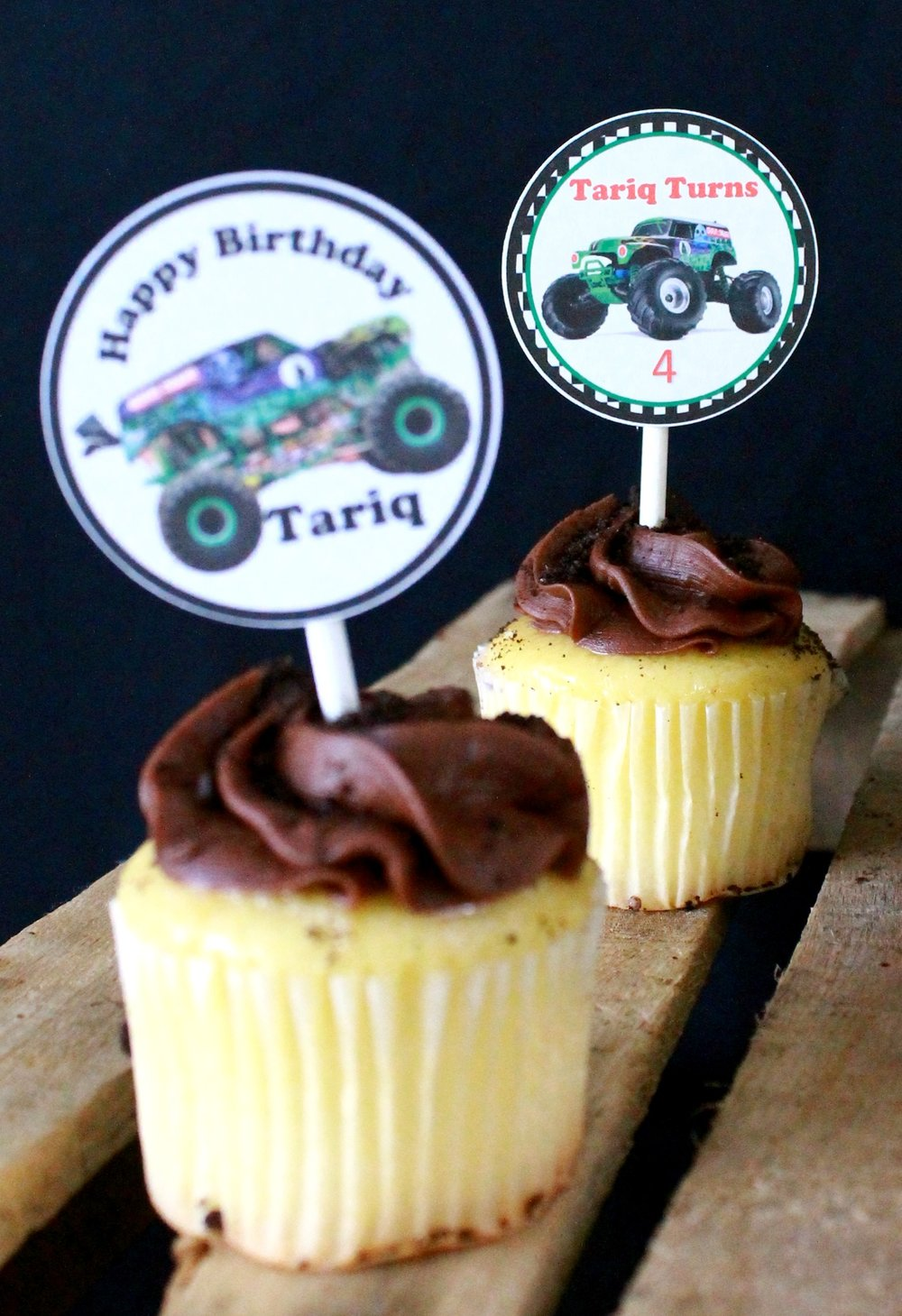 Monster Truck birthday-monster truck toppers-grave digger-cupcake topper ideas-monster truck cupcakes-www.SugarPartiesLA.com.jpg