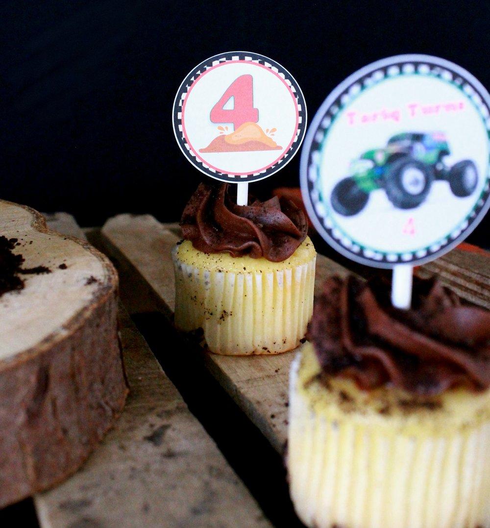 Monster Truck Birthday-Monster Truck cupcake toppers-monster truck-Grave digger-Grave digger toppers-www.SugarPartiesLA.com.jpg