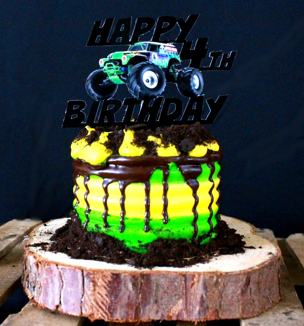 Grave Digger-Monster Truck Birthday-Easy Monster Truck Cake-Cake Diy-Grave Digger Topper-www.SugarPartiesLA.com.jpg