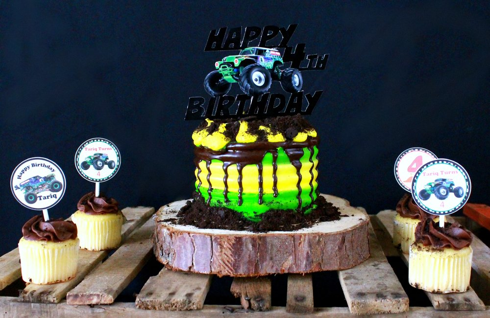 Grave Digger-Grave Digger Topper-Monster Truck Birthday-Monster Truck cupcake toppers-www.SugarPartiesLA.com.jpg