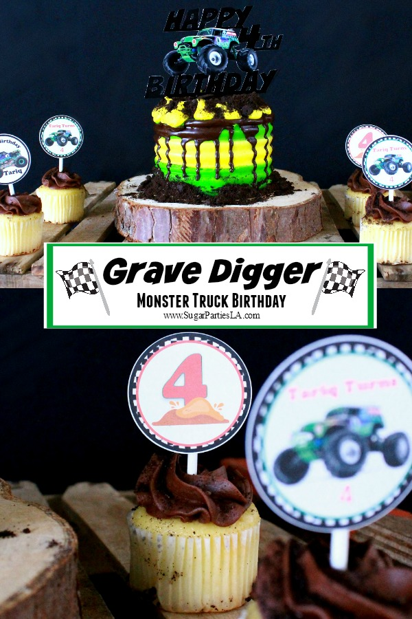 Grave Digger-Grave Digger Toppers-Monster Truck Birthday-easy Monster truck party Ideas-Monster Truck Cupcake Toppers-Grave Digger Printables-www.SugarPartiesLA.com.jpg