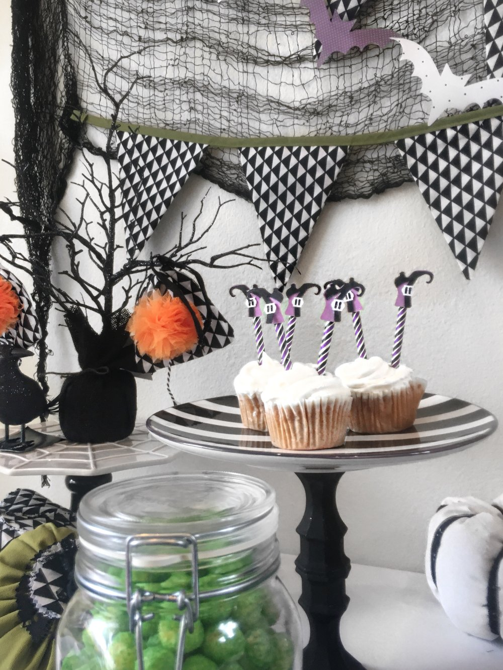 Halloween Party-Halloween Candy-Halloween cupcakes-Witches Feet Cupcake Toppers-Halloween Candy Table-Halloween Party Ideas-www.SugarPartiesLA.com