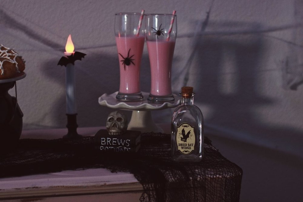 Spidery-Milk-Shakes-Crow-and-Skulls-Pink Halloween-Halloween Dessert Ideas-Halloween Pink Decor-Halloween Party Ideas-Halloween Dessert Table-Halloween Drink Ideas-www.SugarPartiesLA.com