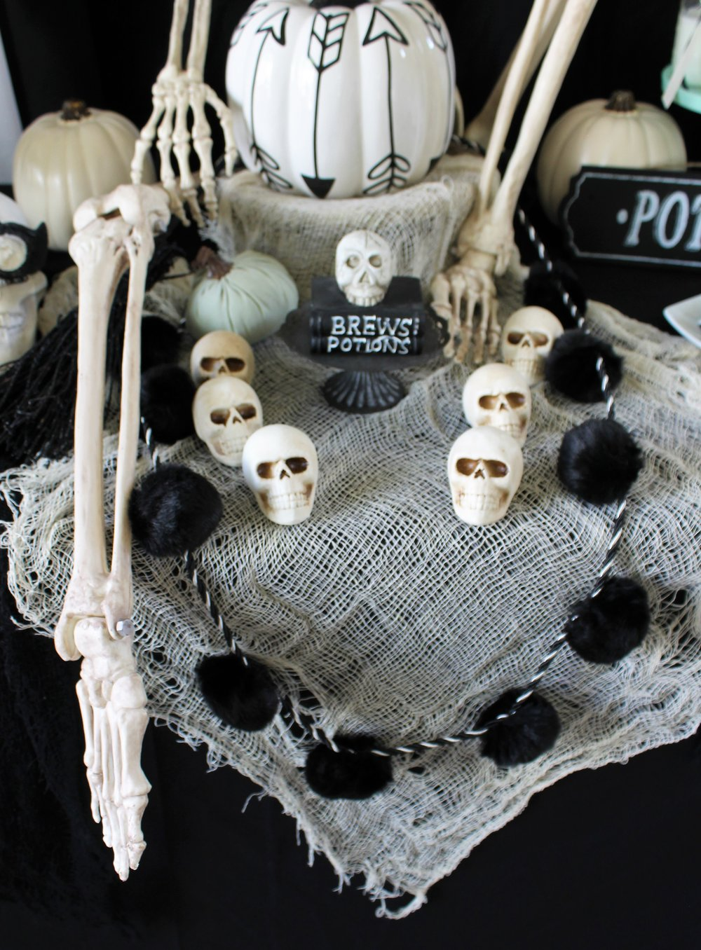 Halloween Party Ideas-Pastel Halloween -Mint Halloween-Halloween Dessert Table-Halloween Desserts-Halloween Candy Table-Boho Halloween-Halloween Skeleton-Halloween Party Ideas-Skulls-Halloween Skulls-www.SugarPartiesLA.com
