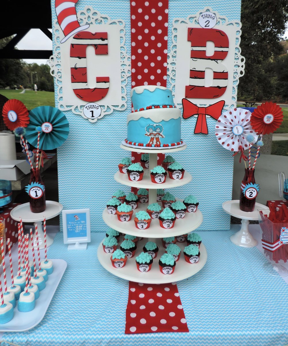 Dr.Suess Birthday-Thing 1 Thing 2 Birthday Party-Dr.Suess Birthday Party Ideas-Thing 1 and Thing 2 Party Ideas-Park Birthday-Double Birthday-First Birthday Ideas-Twins Birthday Theme-Dr.Suess Party Decor-Dr.Suess Dessert Ideas-Thing 1 Thing 2 Dessert Ideas-www.SugarPartiesLA.com