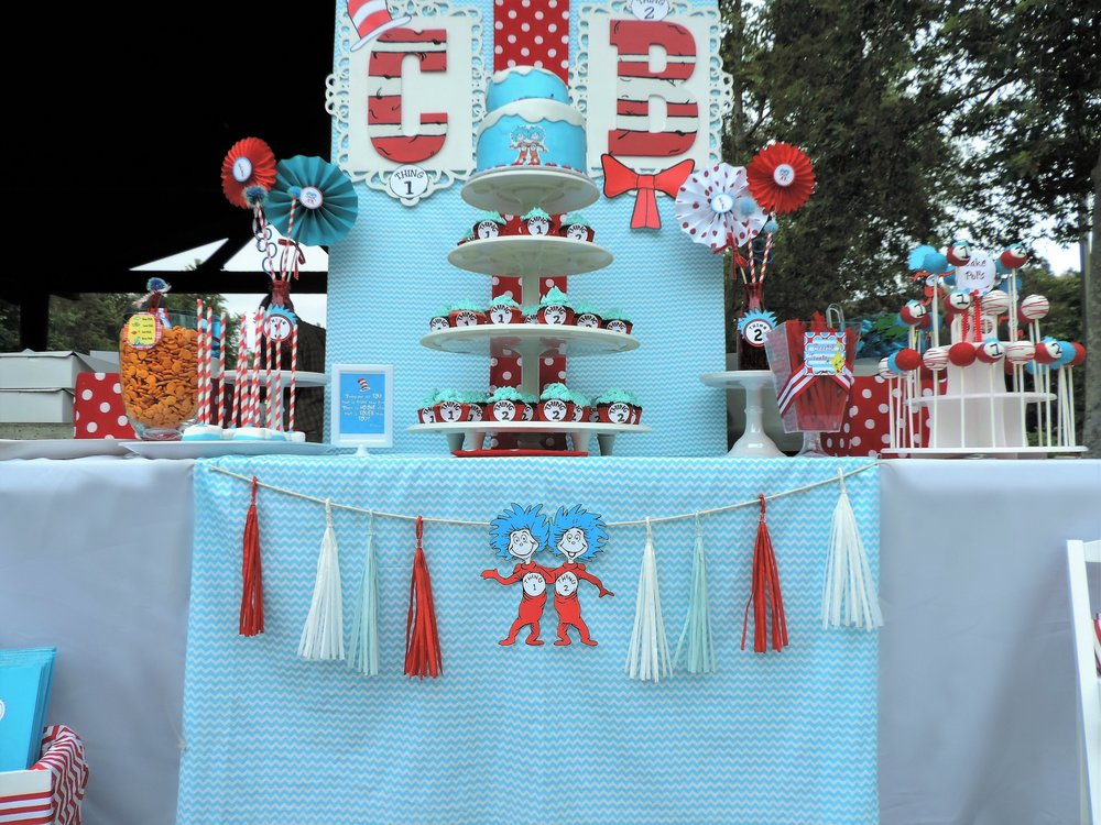 Dr.Suess Birthday Theme-Dr.Suess Birthday-Thing 1 Thing 2 Birthday Party-Dr.Suess Birthday Party Ideas-Thing 1 and Thing 2 Party Ideas-Park Birthday-Double Birthday-First Birthday Ideas-Twins Birthday Theme-Dr.Suess Party Decor-Dr.Suess Dessert Ideas-Thing 1 Thing 2 Dessert Ideas-www.SugarPartiesLA.com