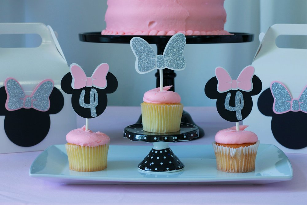 Minnie Mouse Cupcake Toppers - Minnie Mouse Age Cupcake Toppers