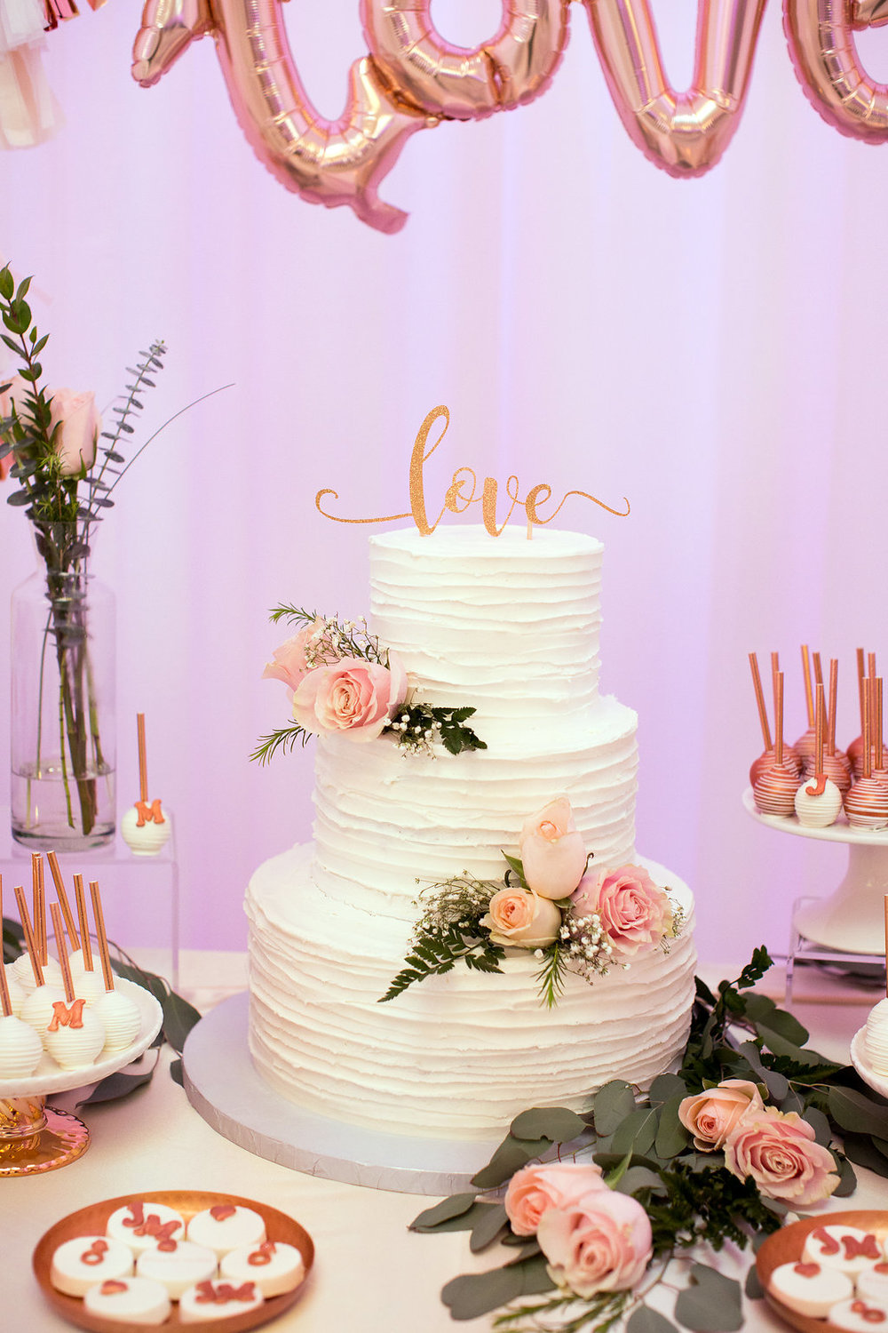 Rose Gold Dessert Table-Rose Gold wedding-rose quartz-Wedding Desserts-Engagement party-Copper Desserts-Decorated wedding donuts-Wedding Cake-Love cake topper-Engagement Cake-She said Yes-www.SugarPartiesLA.com