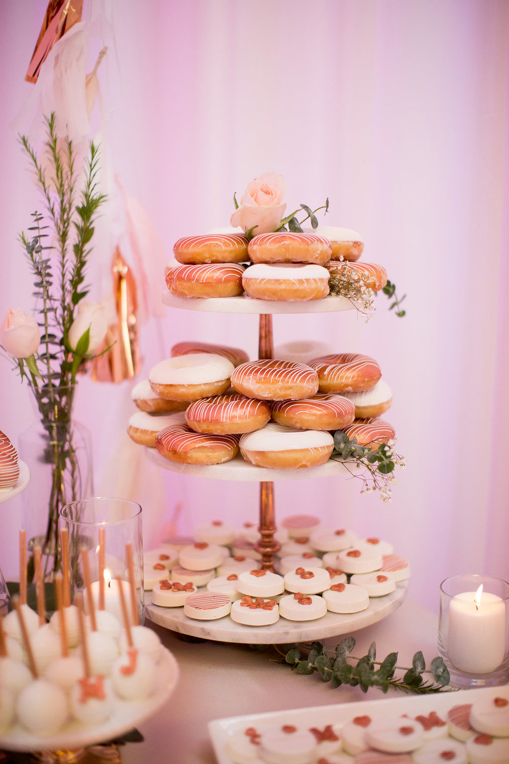 Rose Gold Dessert Table-Rose Gold wedding-rose quartz-Wedding Desserts-Engagement party-Copper Desserts-Decorated wedding donuts-www.SugarPartiesLA.com