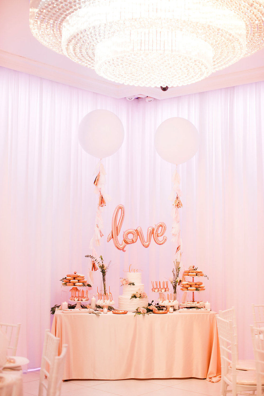 Rose Gold Dessert Table-Rose Gold wedding-rose quartz-Wedding Desserts-Engagement party-Copper Desserts-Decorated wedding donuts-Love Balloon-Engagement Dessert Table-www.SugarPartiesLA.com