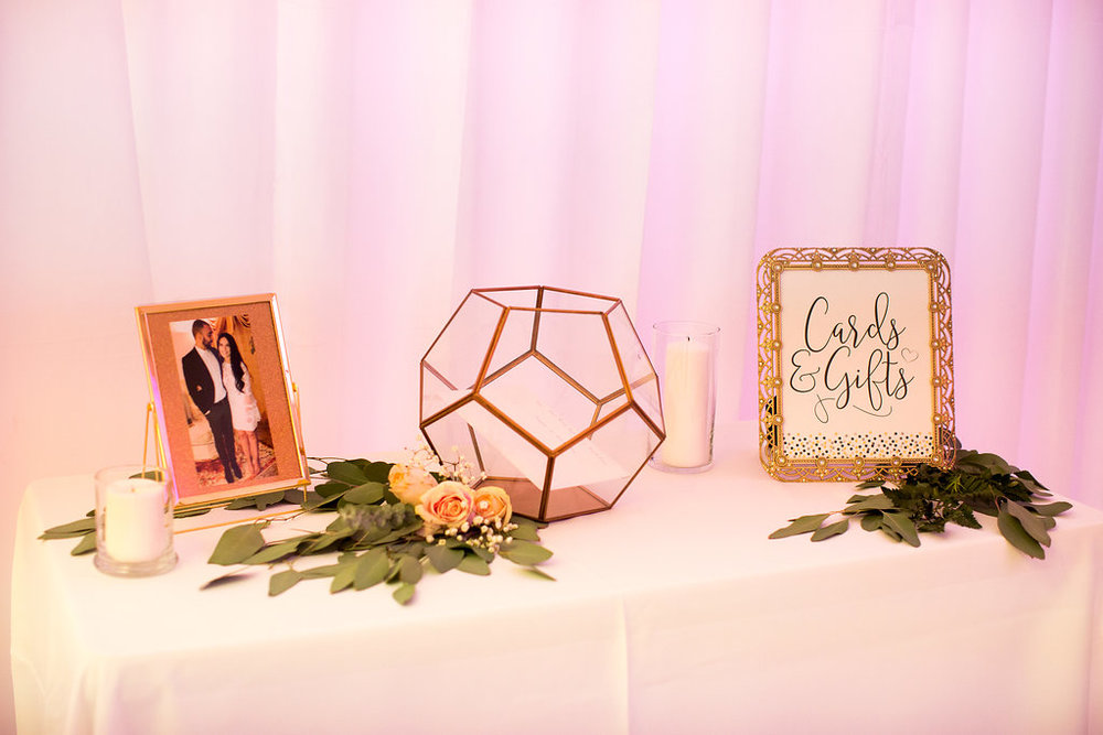 Wedding Gift Table-Wedding Card Box-Card Box-Terrarnium Card Box- Engagement Party-Engagement Party Ideas-She Said Yes-Rose Gold-Copper Party-www.SugarPartiesLA.com