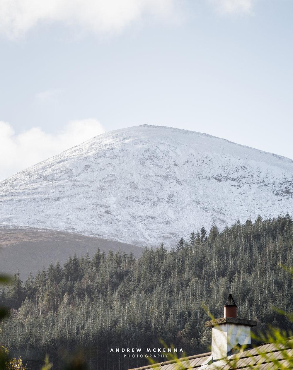Snowy Slieve Donard mountain from my garden in Newcastle.