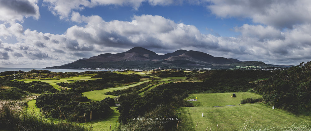 4th Tee View from The Royal County Down Golf Course with the beautiful Mountains of Mourne in the background.