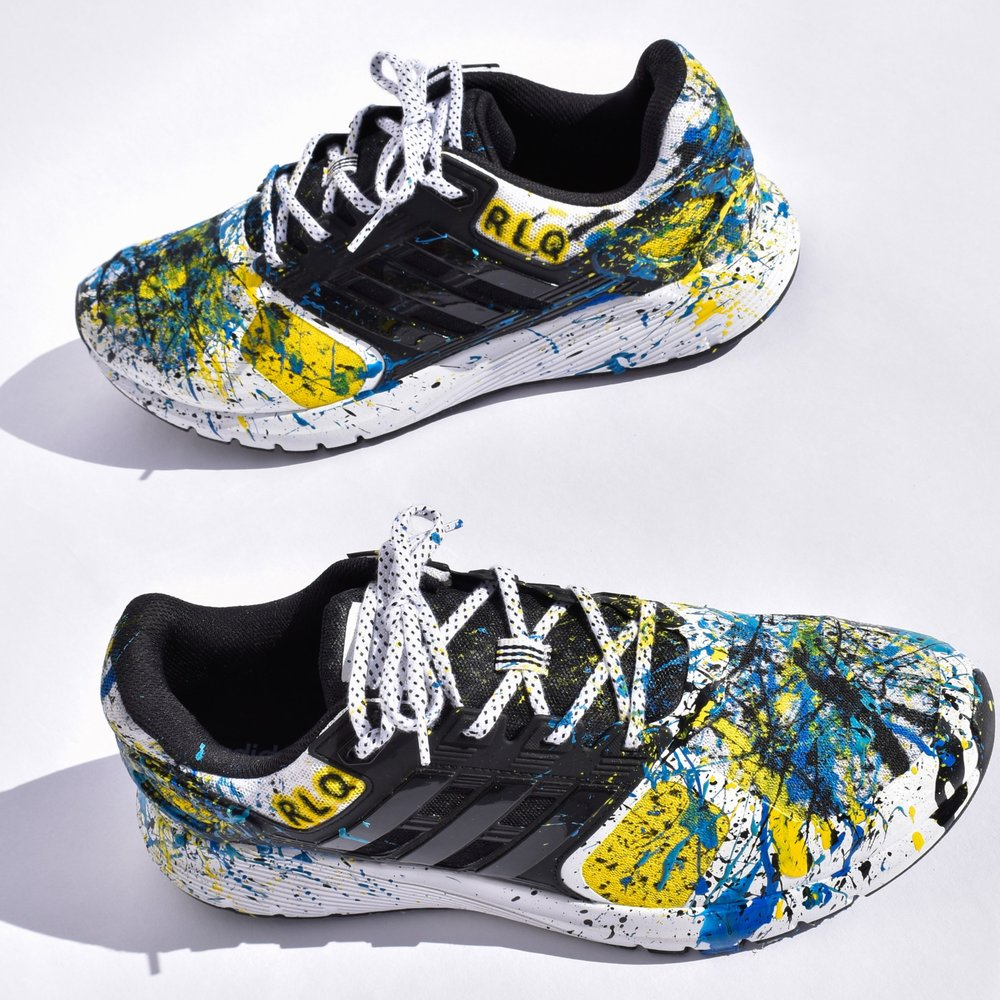 Big Kids-size 4 & up through Adults   Splatter paint fee $100  This price does not include the cost of sneakers.