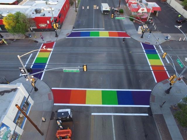 Tucson arizona rainbow crosswalk ruby lake glass llc tucson arizona rainbow crosswalk sciox Images