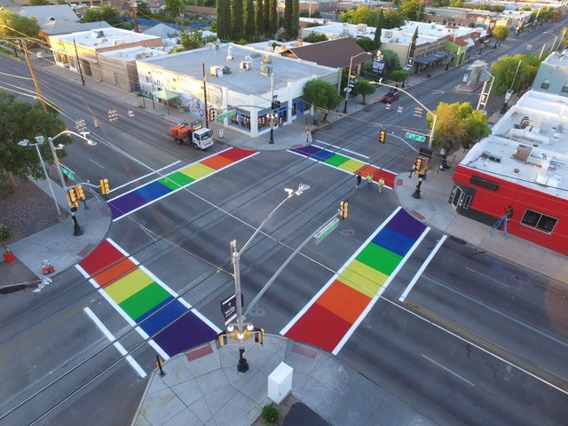 Rainbow Crosswalk TucsonAZ 8-2017 2.jpg