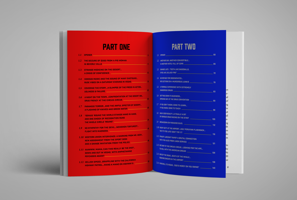 I carried over the bright primary colors from the cover page onto the table of contents. This spread was particularly challenging because the chapter titles are very long. I paid strict attention to alignment and type styles in order to create a clear visual hierarchy and flow.