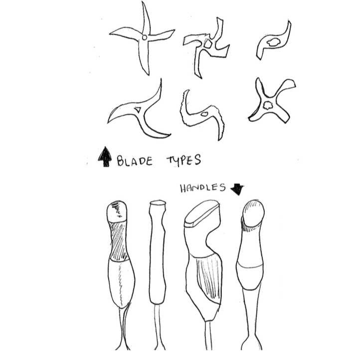 Initial rough sketches of existing blender blades (top) and handles (bottom)